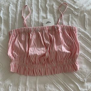 pink striped crop top